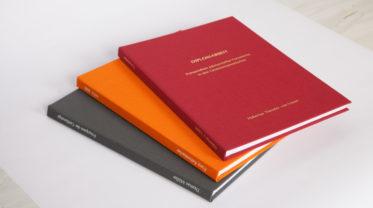 Einband Bachelorarbeit, Diplomarbeit, Masterarbeit, Buchleinen, Dissertation in den Farben Dunkelgrau, Orange und Dunkelrot