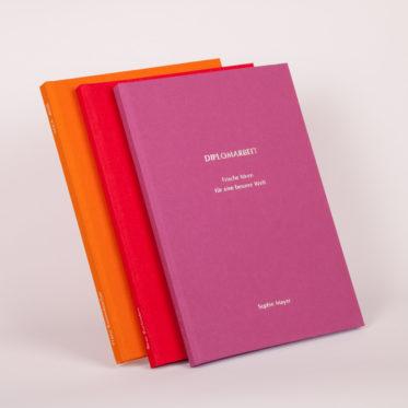 Einband Bachelorarbeit, Diplomarbeit, Masterarbeit, Buchleinen, Dissertation in den Farben Orange, Rot und Pink